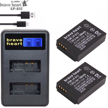 brave heart 2x LP-E12 digital camera battery PACK for canon LP E12, EOS M M2 100D Kiss X7 Rebel SL1 high quality lpe12 batteries(China)