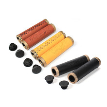 1 Pair Mountain Bike Handlebar Grips Leather Rubber Comfort Riding Specialized Bicycle Handle Grip Bicycle Parts