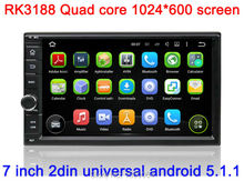 "1024*600 HD 7"" Quad core Universal Double 2 Din Android 5.1 Car DVD+GPS Navigation+Wifi+3G+Mirror link+Audio+Video+Stereo+map"