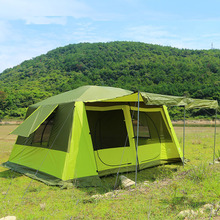 Ultralarge 8-12 Person Doule Layer Waterproof Two Bedrooms & One Living Room Camping Party Tent House