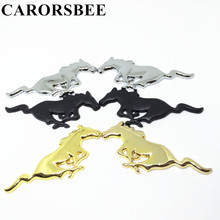 CARORSBEE 1 pair Gold black silver Metal animal Running Horse car emblem Tail Trunk Side badge Sticker Auto styling For Mustang