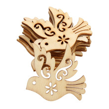 10pcs/lot Novelty Exquisite DIY Crafts Handicraft Bird Die Cutting Wood Angle DIY Scrapbook Wood Crafts Accessories 38mm*36mm(China)