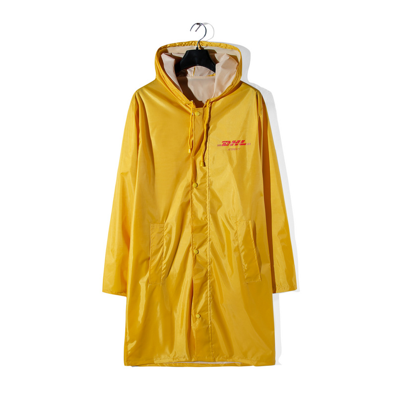 2018ss Vetements DHL Print Yellow Raincoat Jacket Coat Hiphop Streetwear VETEMENTS Windbreaker Long Style Hooded Jacket Raincoat