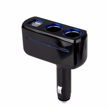 2 Ways Car Cigarette Lighter Power Socket Splitter Power Adapter Car-styling DC 12 Volt 3.1A 80w Dual USB Charger Socket  Blue