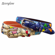 100cm New Graffiti Designer Women's leather belt jeans with high waist Belts 2017 Fahion casual female belts for dress F125(China)