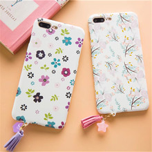 Luxury Cute Cartoon Flowers Floral Plastic For iPhone 7 Case Fashion Tassel Pendant Phone Cases Letter Cover For iPhone6 6S Plus