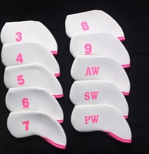 High Quality 10pc/Set Golf Neoprene Iron Head Covers For Golf  Iron Sets Wedge Cover universal Pink/White Cover