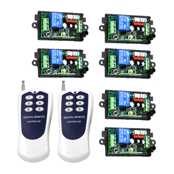 FREE SHIPPING New 2 Transmitters &amp; 6 Receivers 220V 10A 1 Channel Wireless Relay Remote Control Switch RF 315MHz/433MHz 3405<br>
