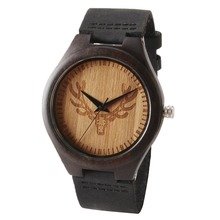Good day watch brands Carbonized bamboo garden shell watches watch Crazy horse leather leather watch package mail(China)