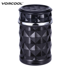 Car Ashtray Smokeless Auto Cigarette Ash Holder with Blue LED Light for Car Cup Holder(China)