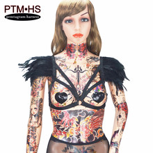Angel feather body harness Tops Cage Epaulettes Adjust Bondage Feather Shoulder Burning Wedding Dress Feather Wings Rave Wear