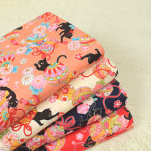 Half yard import fabric soft breeze cartoon cat printing textile pure cotton handmade DIY quiting sewing garment bag tissue A4(China)