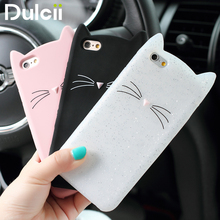 Dulcii Cover for iPhone 5 5s 6 6s 6plus 7 8plus xCase Shell 3D Beard Cat Silicone Soft Case Cover for iPhone 6s Mobile Bag funda(China)