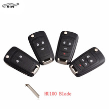 RIN Remote Key Case Shell for VAUXHALL OPEL Insignia Astra J Zafira C Mokka Car Control Fob Cover Housing HU100Blade with logo