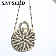 Women Shoulder Bag Indonesia Straw Bales The Cane Makes Up Natural Hand Knitting Single Worn Round Cakes Square Petals New(China)