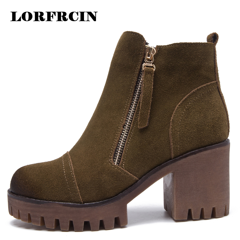 LORFRCIN Genuine Leather Women Ankle Boots Two Side Zipper Women Boots High Heel Women Shoes Black Platforms Shoes Woman<br>