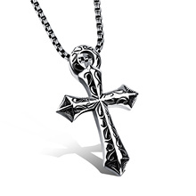 Jiayiqi 2017 Fashion New Male Stainless Steel Necklace Engraved Sword Cross Pendant Punk Rock For Men Jewelry Accessories Gifts(China)