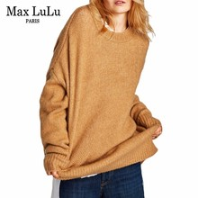 Max LuLu Fashion Brand Thicken Warm Poncho Womens Long Off Shoulder Sweater Loose Casual Ladies Winter Pullovers Knitted Jumpers(China)