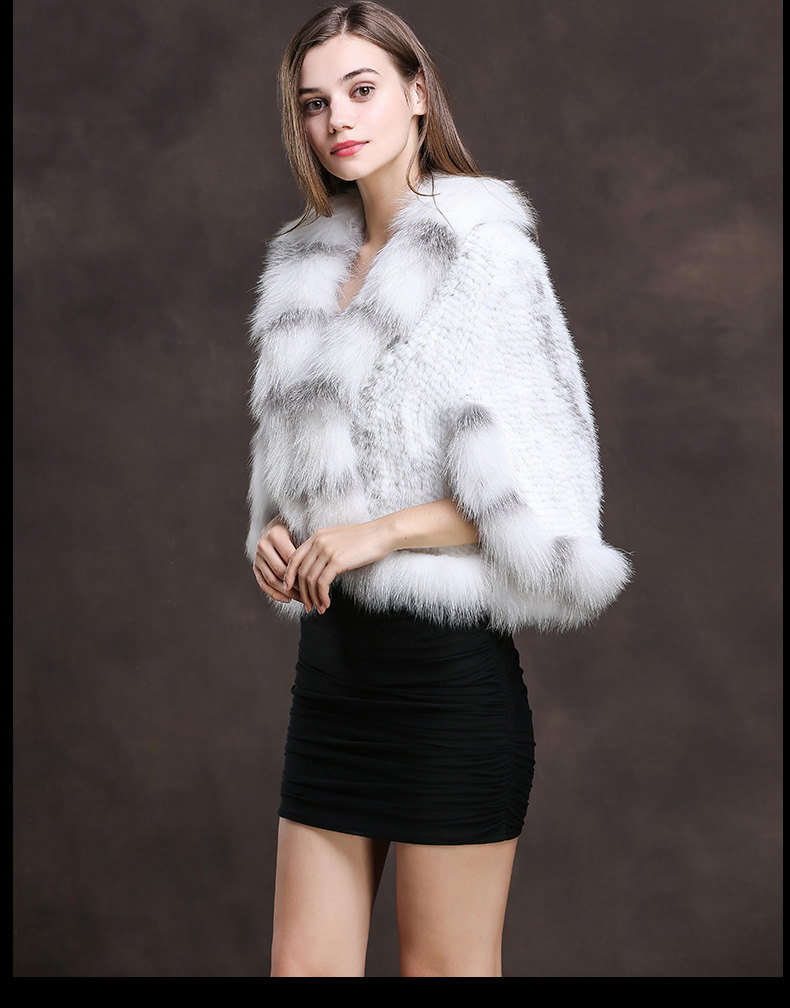 Winter Shawl Wrap Poncho Real Knit Mink Fur shawl With Fox Trimming Real fur Jacket coats party 2017 new (24)