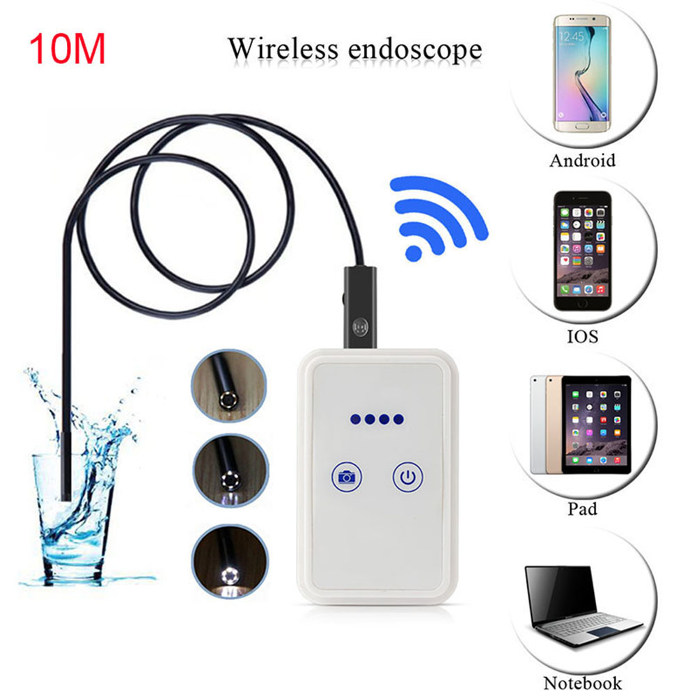 Gakaki HD 720P WIFI for Iphone Android Endoscope Snake USB Camera 8mm Lens 10M Tablet PC Pipe Inspection Borescope Cameras<br>