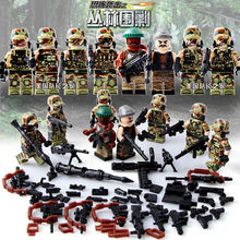 8PCS City Police Swat Team Jungle Siege Army soldiers With Weapons Guns LegoINGlys Military Figures WW2 World War Blocks Toys