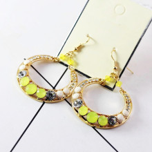 Women Cute Yellow Green Rhinestone Crystal Drop Earring for Women Round Diamante Circle Drop Earrings Eardrop
