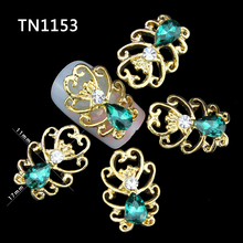 10pcs new design 3d nail alloy decoration glitter rhinestone nail art stud artificial emerald manicure nail accessories TN1153
