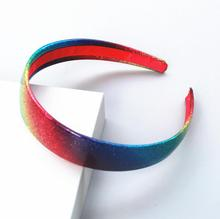 50pcs DHL Free Shipping Gymboree Ombre Headband Rainbow Headband one inch PU wrapped(China)