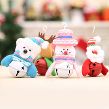 4pcs/lot Christmas Decorations Cute Snowman Santa Claus Christmas Bells Christmas Tree Pendant Drop Ornament for Xmas Decoration(China)