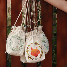 girls floral Drawstring Canvas Print Bunched Bags Small Baskets shoulder Bags Mobile Bags Coin Purse Small Slippers(China)
