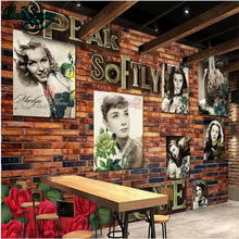 beibehang Retro Nostalgic Europe and the United States beautiful star brick wall TV wall background custom wall murals