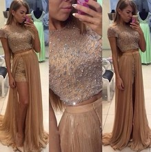 ANTI Real Picture Evening Dress Two Pieces Detachable Skirt Arabic Muslim Formal Gowns For Wedding Party Celebrity Guest Dress