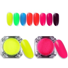 8 Colors Neon Pigment Powder Nail Art Glitter Powder Gradient Fluorescence Pigment Dust DIY Nail Decorations(China)