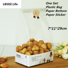 10Sets Enjoy Life Cookie Candy Bread Plastic Packing Bags Boxes Cookie Clear Party Gift Chocolate Wedding Paper Self Stand Bags