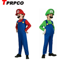 TPRPCO Halloween Costumes Funny Super Mario Luigi Brother Costume Kids Children Boys Girls Fantasia Cosplay Jumpsuit C18790(China)