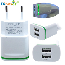 Hot-sale USB Fast Charger High Quality EU Plug 2.0A/1.0A Wall Charger Mini Dual Ports USB LED Light Fast Charging Power Adapter(China)