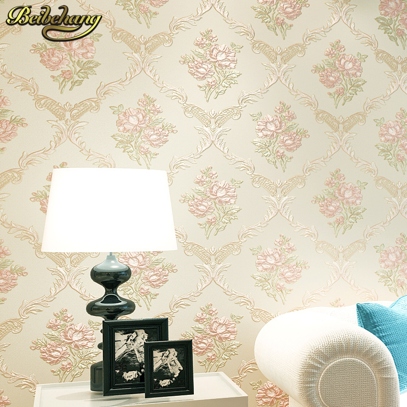 beibehang European garden flowers Non-woven glossy stylish damask wallpaper roll for living room luxury wall paper for bedroom<br>