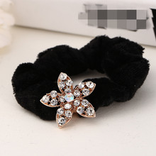 Fashion Women Girls Black Velvet Rhinestone Flower Butterfly Bow Hair Tie Elastic Hair Band 5 Style Clear Crystal Headband