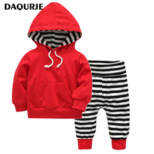Autumn Winter Newborn Baby Boy Clothes 100% Cotton Long Sleeves Hooded Sweater + Pants Baby Clothing Set Infant New Year Suit(China)