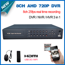 HD 8channel AHD 720P 25fps realtime HDMI 1080P 8ch cctv wifi Hybrid dvr NVR recorder HI3521A for home video surveillance system