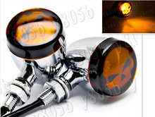 Chrome Skull Turn Signals Light For Suzuki Boulevard C50 Volusia 800 C90 M109R C109 Marauder 800 M50 Intruder LC1500 Cruisers(China)