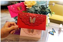 Freeshipping 20pcs 2018 New Butterfly Decor red Envelope China Traditional Wedding Favor Red Packet wedding decoration(China)