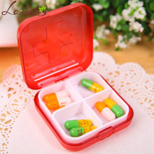Laiwen Portable 4-Slot Medicine Case Medical Pill Box Drug Free Shipping wholesale/retail(China)