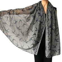 |180cm x 90cm| Large Size Swallow Bird Print Women's Scarf Shawl Wrap Soft Lightweight Accessories(China)