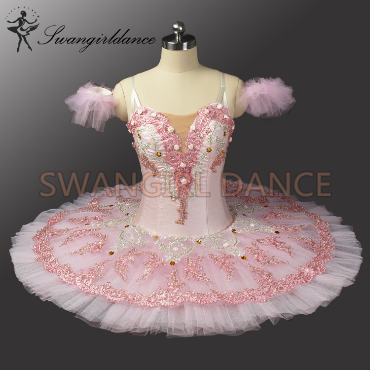 Pink Peach Fairy Professional Ballet Tutu With Flowers Ballet Professional Tutu For Adults Girls Ballet Tutu Dress BT9055