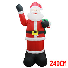 2.4m 7.9ft Inflatable Santa Claus With Gift Bag The Hand Can Move Yard Christmas Decoration