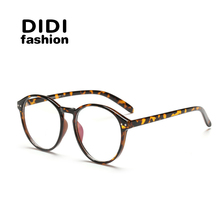 DIDI Round Plastic Leopard Glasses Frame Vintage Spectacle Frames For Women Men Accessories Eyewear Frames Lunette De Vue H144(China)