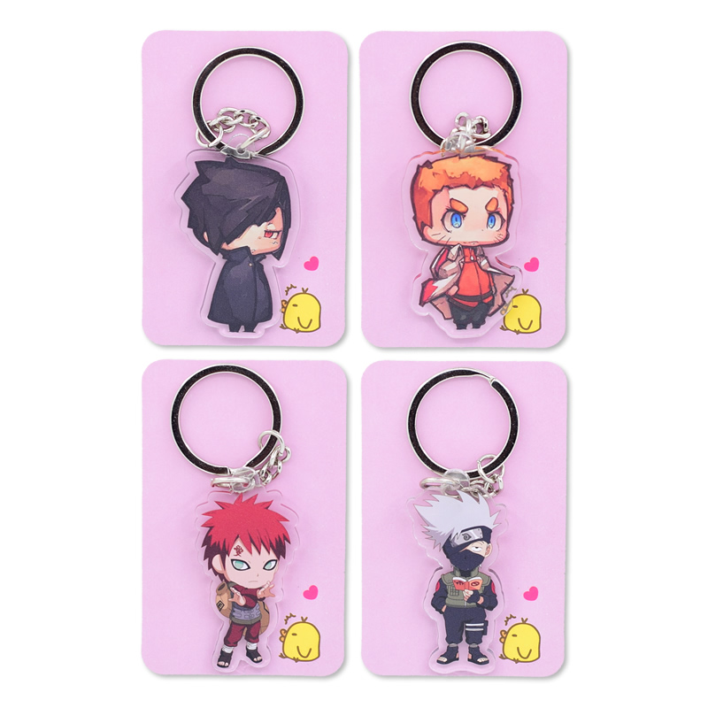 2018 Naruto Keychain Cute Double Sided Akatsuki Panther Key Chain Customize Anime Key Ring PCB178-193