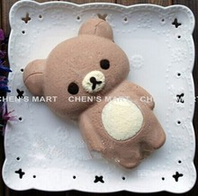 Free Shipping 1 pc Brown Body Relaxation Bear 6 Inch Silicone Cheese Cake Mold Rilakkuma Fondant Baking Topper Cupcakes Mould