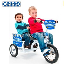 Euro Trike Police Tandem Trike White/Blue Double Children Tricycle Twins Buggiest  Tricycle